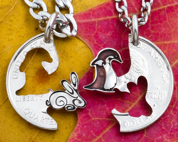 Bunny Rabbit and Penguin Bird Necklaces, Couples Jewelry, Best Friend Gifts, Engraved Interlocking Animals, Hand Cut Coin