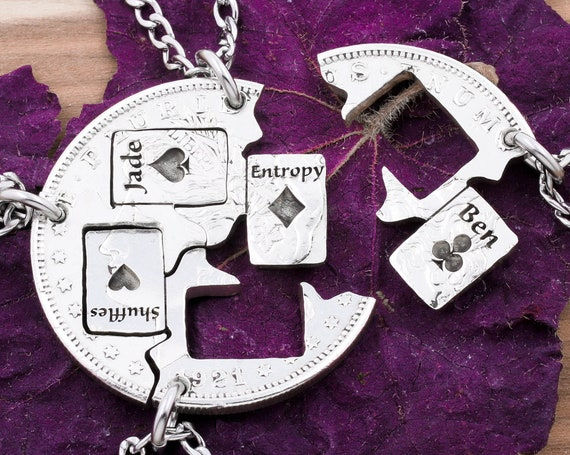 4 Playing Card Necklaces with Custom Engraved Names, BFF or Family Gifts, Heart, Spade, Club and Diamond, Interlocking Hand Cut Coin