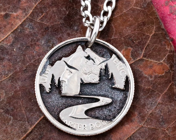 Trail Necklace, hiking jewelry, hand cut coin
