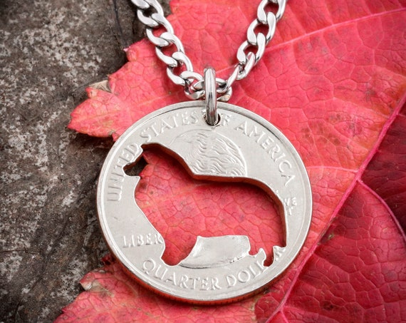 Corgi Necklace, dog jewelry, hand cut coin