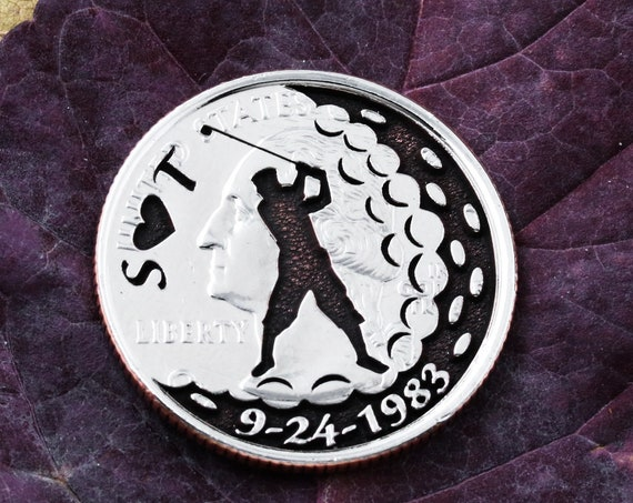 Custom Golf Ball Marker, Initials and heart engraved, Personalized date, Etched Quarter