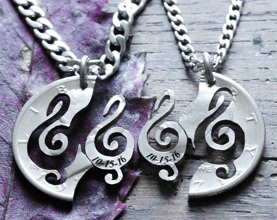 Treble Clef Necklaces with Custom Dates, Couples and BFF Jewelry, Music Best Friends, Musician Gift, Hand Cut Coin