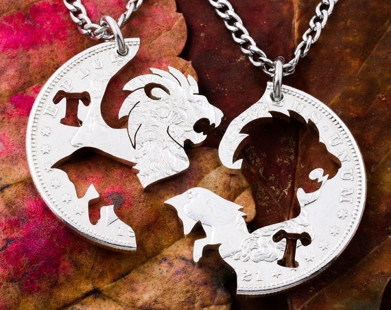 Lion and Fox Necklaces with Custom Cut Initials, BFF or Couples Jewelry, Animal Jewelry, Interlocking Hand Cut Coin
