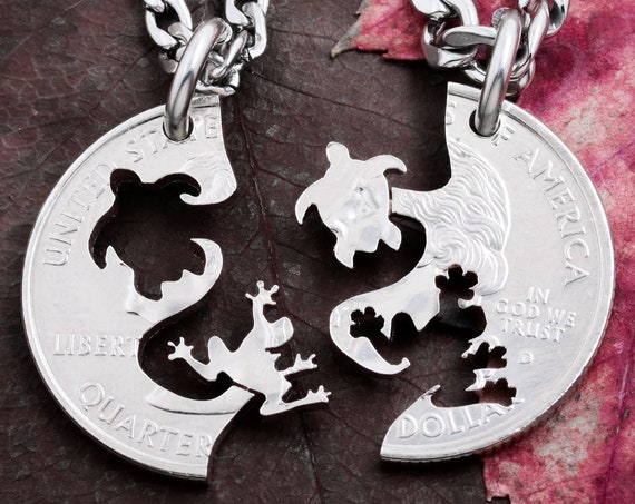 Frog and Turtle Friendship Necklaces, Fits like a puzzle, Best Friends Gifts, Interlocking Hand cut coin