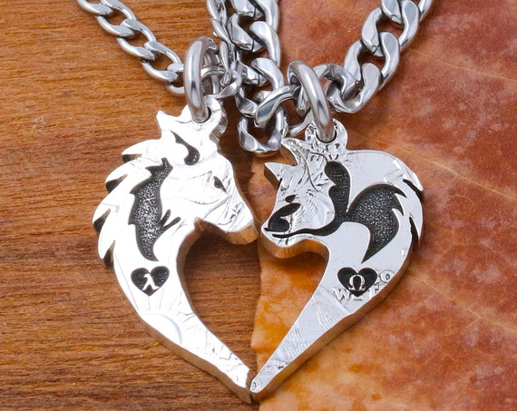 Cat and Wolf Couples Necklaces, Custom Engraved Greek Letters, Lambda and Omega, Heart, Couples Gifts, Relationship Jewelry, Hand Cut Coin