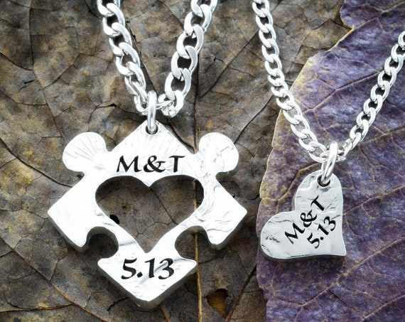 Anniversary Jigsaw Puzzle Necklace, Heart Initials Jewelry, Couples Save the Date, Coin Gift