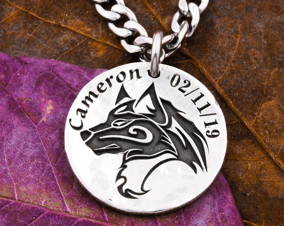 Silver Wolf Necklace with Custom Engraved Date and Name, Achievement Necklace, Pet Jewelry, Hammered Silver Coin