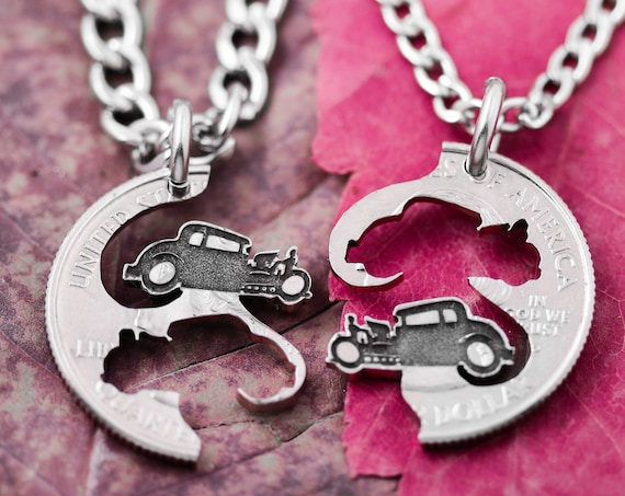 Old Vintage Cars, Ancient Automobiles, Best Friends Necklaces, BFF Gifts, Interlocking Hand Cut Coin