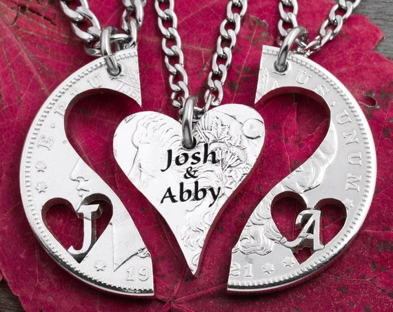 3 Piece Center Heart Necklaces with Engraved Names, Couples Jewelry, Marriage Gift, Cut Heart Initials, Hand Cut Coin