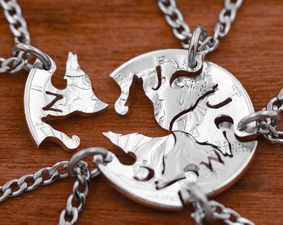 5 Best Friend Wolf Necklaces, Five Wolves with Custom Initials, Best Friends or Family Gifts, Hand Cut Coin