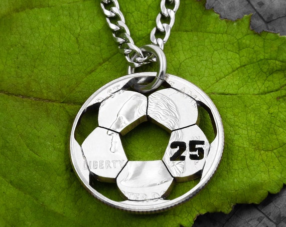 Soccer Necklace, Custom Jersey Number, Sports Jewelry For Boys and Girls, Soccer Mom, Hand Cut Coin