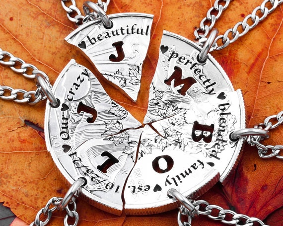 6 Piece Family Necklaces, Slices of a Coin, Custom Cut Initials, Personalized Date, Engraved Wording, Tiny Hearts, Hand Cut Coin