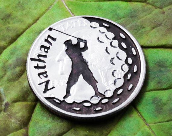 Personalized Name Golf Ball Marker, Custom Engraved, Etched Quarter, Unique Dad Gift, Golfer Accessory