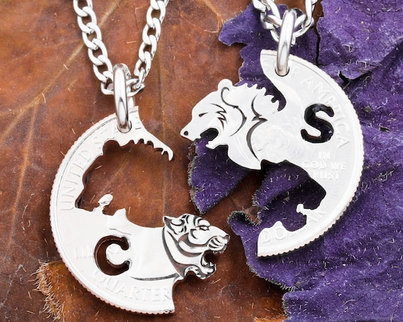 Engraved Bear and Tiger Necklaces with Custom Cut Initials, Interlocking Animal Jewelry, Couples Necklaces and BFF Gifts, Hand Cut Coin