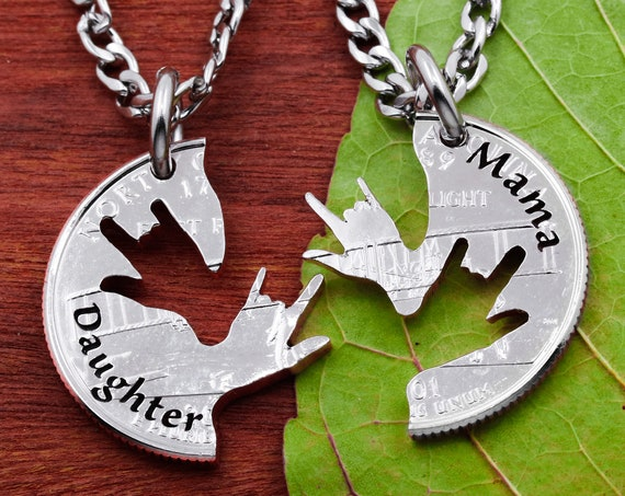 Daughter and Mama Necklaces, ASL I Love You Hands, Family Jewelry Gifts, Interlocking Hand Cut Coin