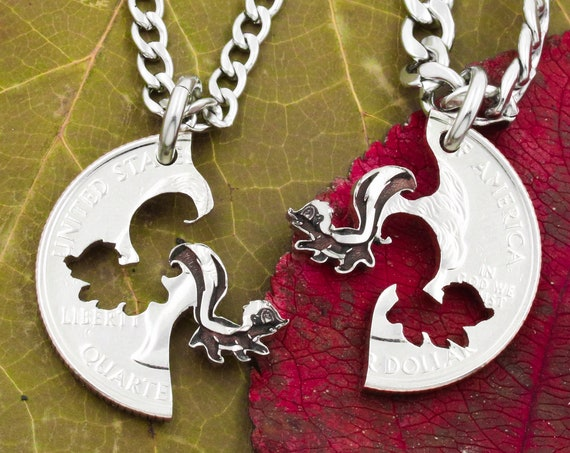 Skunk Necklaces, Best Friend Jewelry, Pepe Le Pew, Flower the Skunk, Animal Interlocking Set, Hand Cut and Engraved Coin