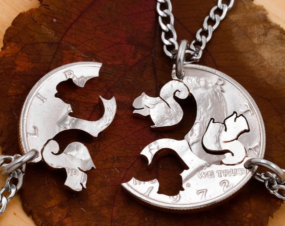 3 Piece Squirrel Necklaces, Three Piece Interlocking Animal Jewelry, Tree Squirrels, BFF Gifts, Hand Cut Coin