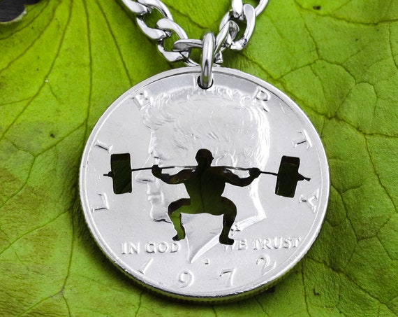 Body Builder Necklace, Exercise and Endurance Workout, Sports and Gym Jewelry, Hand Cut Coin