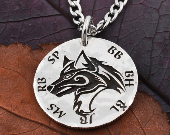 Silver Wolf Necklace with Engraved Custom Initials, Family Jewelry, Best Friends, Engraved Wolf, Hammered Silver Coin