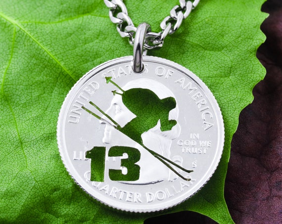 Mountain Skier with Custom Number, Ski Jewelry, Hand Cut Coin