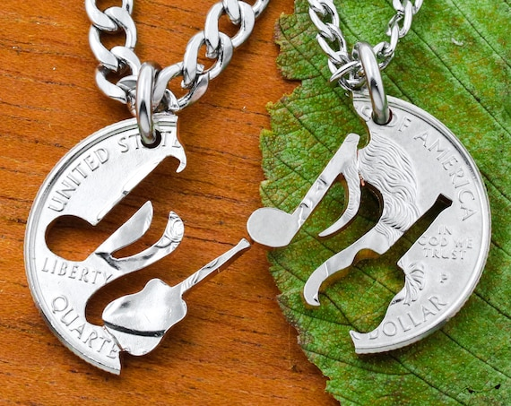 Guitar and Music Note Necklaces For 2, BFF Gifts, Interlocking Instrument, Hand Cut Coin