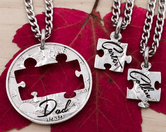 Dad and Son Puzzle Piece Necklaces, Custom Engraved Kid Names, Puzzle Piece Jewelry, Father's Gift, Family Jewelry Sets, Hand Cut Coin