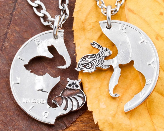 Rabbit and Raccoon Couples Necklaces, BFF Gifts, Engraved Animals, Relationship Jewelry Set, Hand Cut Coin