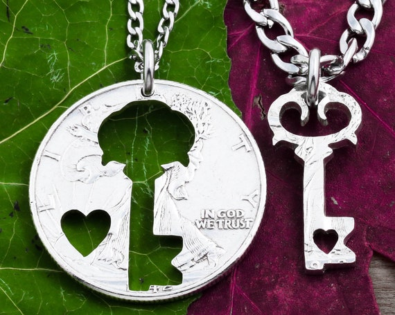 Key Cut Out Necklaces with Tiny Hearts, Couples Love Jewelry, BFF Gifts, Inside and Outside Pieces, Hand Cut Coin