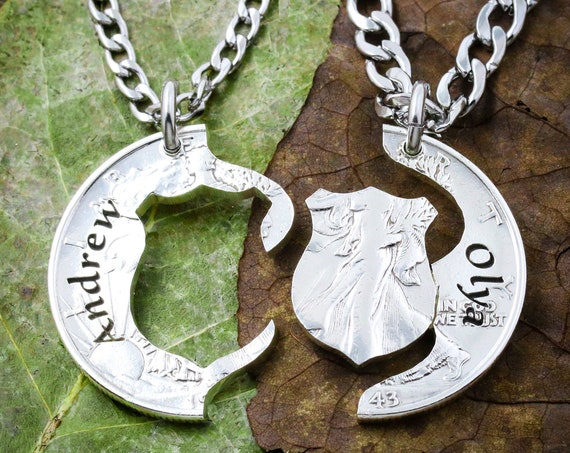 Police Husband Gift Necklaces, Couples Names Engraved, BFF Law Enforcement Academy, Hand Cut Coin Jewelry