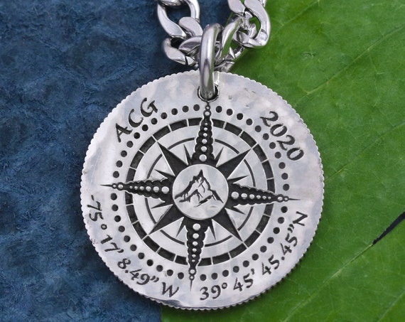 Mountain Hikers Compass Necklace, Engraved Custom Initials, Date, and GPS coordinates, Engraved Quote, Hammered Silver Coin