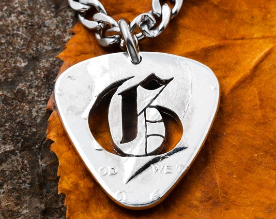 Guitar Pick Necklace with Gothic Script, Custom Blackletter Initial, Cut and Burnished From a Quarter, Hand Cut Coin