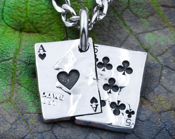 Ace of Hearts and 5 of Clubs Playing Cards Necklaces, Card Collector, GameTime, Cut and Engraved Coin