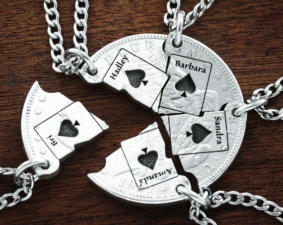 5 Friends Necklaces, Card jewelry, Ace of Spade Necklace, Bridge Club, Custom Name Necklaces, BFF Gifts for 5, Interlocking Puzzle Jewelry
