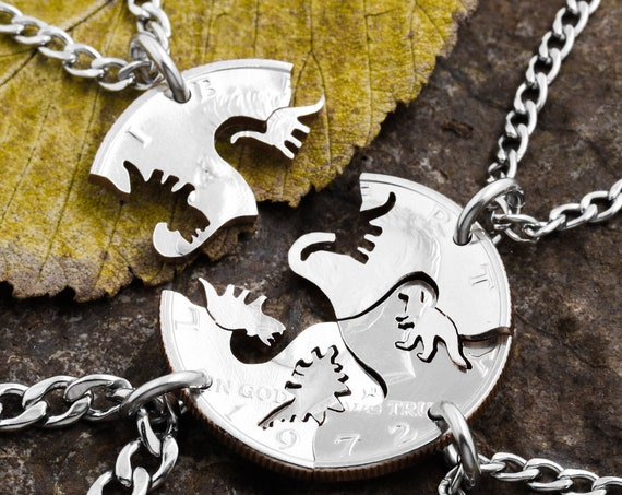 4 Piece Dinosaur Necklaces for Kids, Best Friends or Family Necklaces, BFF Gifts for 4, Interlocking Animals, Hand Cut Coin