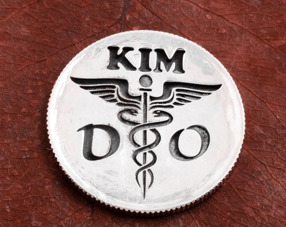 Silver Osteopath Golf Ball Marker for Doctors, Custom Initials Engraved, Nurses or Doctors, Engraved Silver Quarter