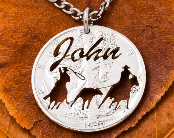 Team Roping Necklace with Custom Cut Name, Calf Roper, Western Jewelry Hand Cut Coin, Hand Cut Coin