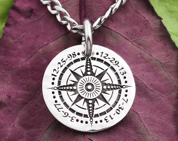 Compass Pendant with Engraved Dates, Journey Necklace, Hikers Jewelry, Significant Life Dates, Silver Hammered Coin