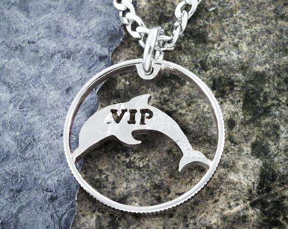 Dolphin Necklace with Custom Cut Initials, Rimmed Coin, Animal Jewelry, Hand Cut Coin