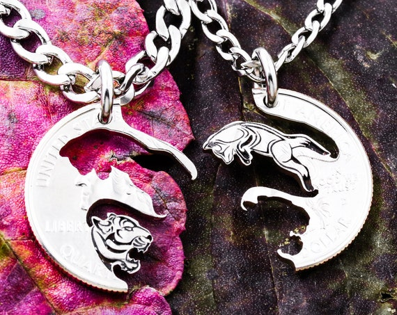 Fox and Tiger Necklaces, Best Friends and Couples Jewelry, Interlocking Animal Set, BFF Gifts, Hand Cut Coin