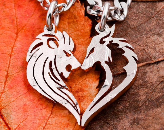 Wolf and Lion Necklaces for Couples, Relationship Jewelry, Interlocking Hand Cut Coin