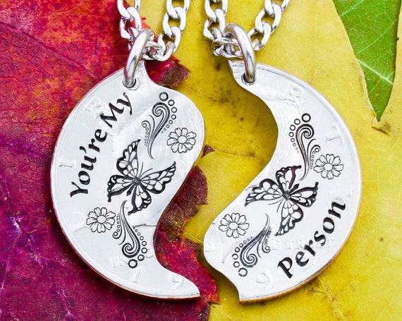 """Split Butterfly Necklaces with Engraved Artistic Designs and """"You're My Person"""", Couples or Best Friends Jewelry, Etched Hand Cut Coin"""