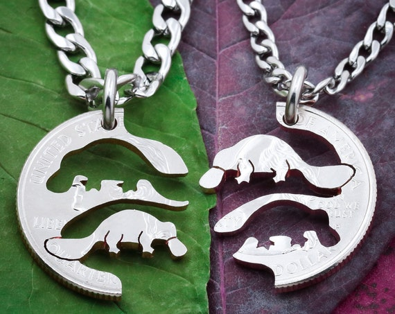 Platypus Best Friends Necklaces, BFF Gift, Friendship Jewelry, Personalized Hand Cut Coin