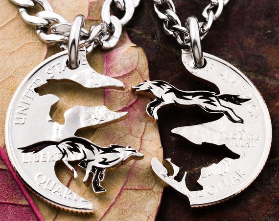 Running Wolves Couples and Best Friends Necklaces, BFF Gifts, Best Friends Forever Jewelry, Interlocking Puzzle set, Hand Cut Quarter