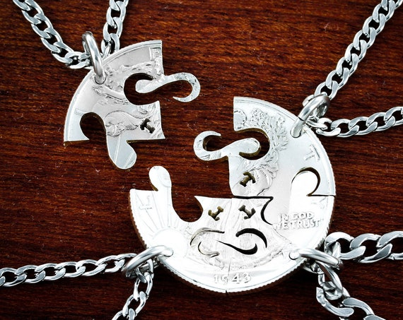 4 Infinity Piece Necklaces with Custom Initials, Best Friends Forever Jewelry, BFF Gifts, Cut on a Half Dollar