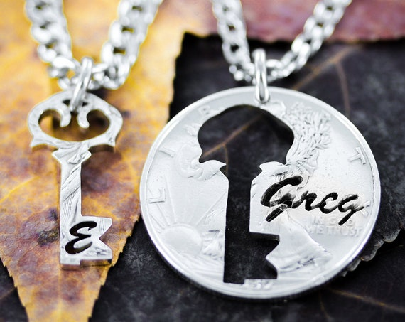 Key To My Heart Necklaces with Custom Key Initial and Name, Couples or BFF Relationship Gifts, Hand Cut Coin