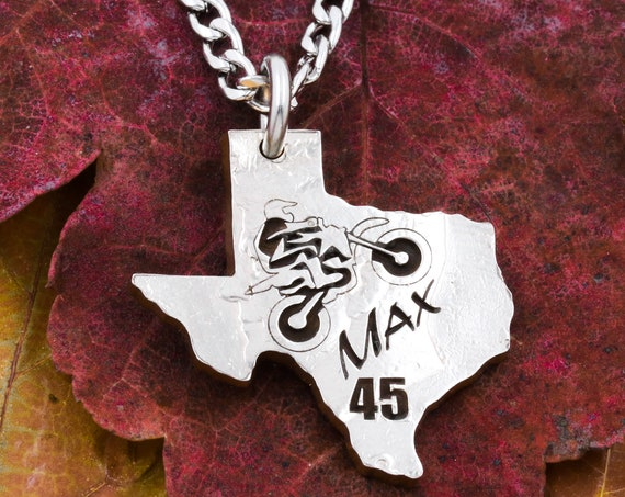 Texas State Necklace with Custom Engraving, Motorcyclist, Personal Name and Number, Hand Cut and Engraved Coin