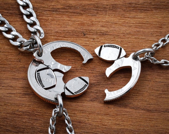 3 Piece Football Necklaces Or Keychains, Three Best Friends Jewelry, Interlocking Hand Cut Coin