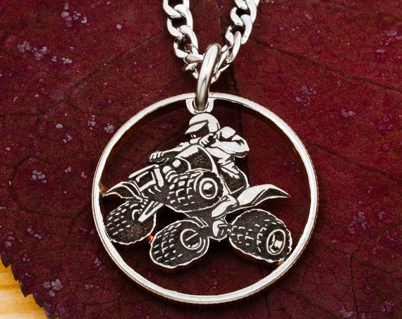 4-Wheeler Quad Bike Necklace, Rider on ATV, Cyberquad, DirtBike, Motorcycle, Men's Jewelry, Hand Cut and Engraved Coin