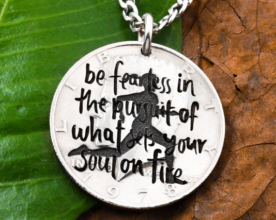 Runners Inspiration Necklace, Engraved Quote, Female Track Runner, Ambitious, Gift Jewelry