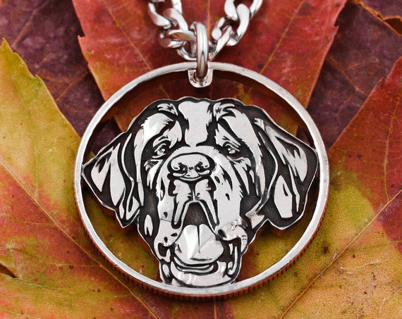 Dog Self Portrait Necklace, St. Benard Dog, Pet Collar, Memorial Jewelry, Animal Pendants, Engraved Coin